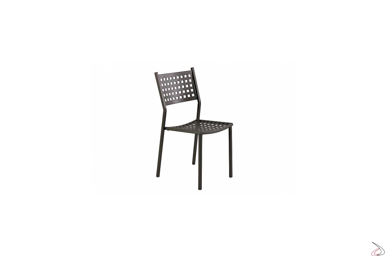 Sedia in metallo moderno per arredo esterno