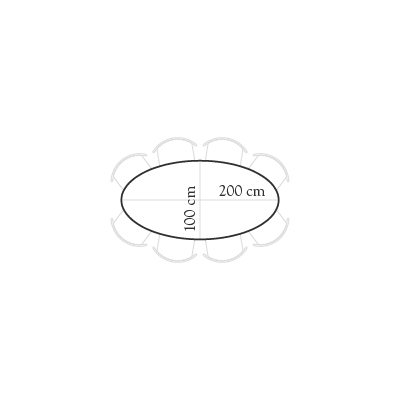 Seating for 200x100 oval table for 6 people