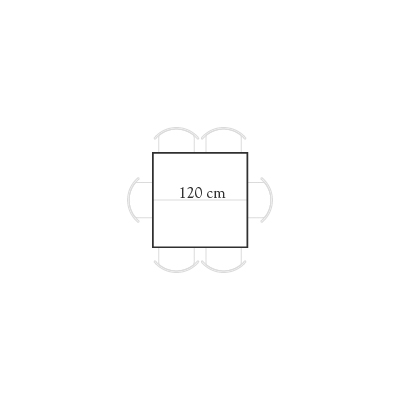 Seating for 120x120 square table for 6 people