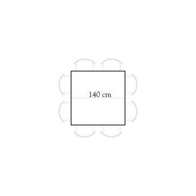 Seating for 140x140 square table for 8 people