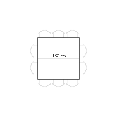 Seating for 180x180 square table for 10 people