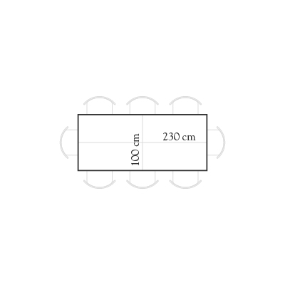 Seating for 230x100 rectangular table for 8 people