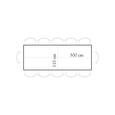 Seating for 300x110 rectangular table for 12 people