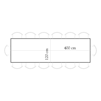 Seating for 400x120 rectangular table for 14 people