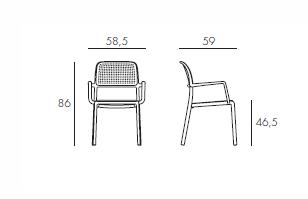 Sedia bora arredo design online for Sedia misure