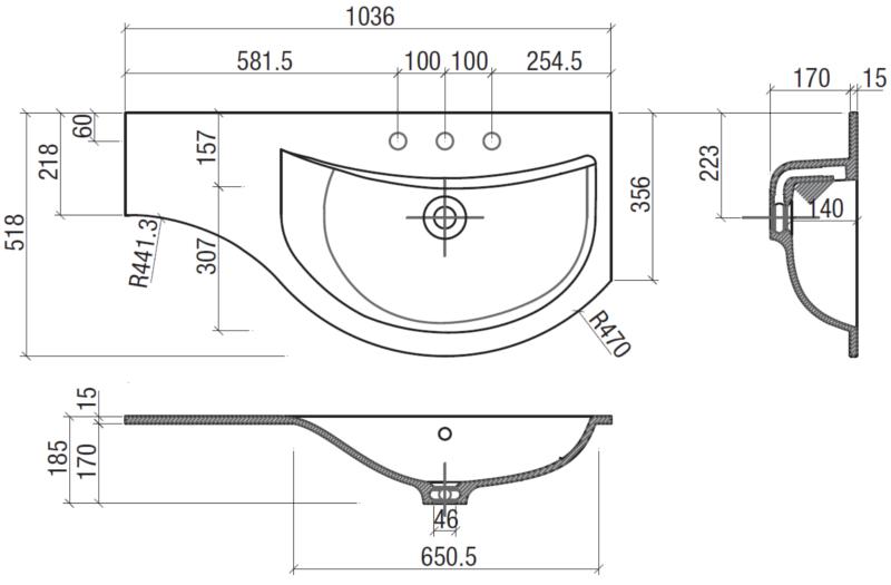 Mobile bagno curvo compass arredo design online - Misure lavandino bagno ...