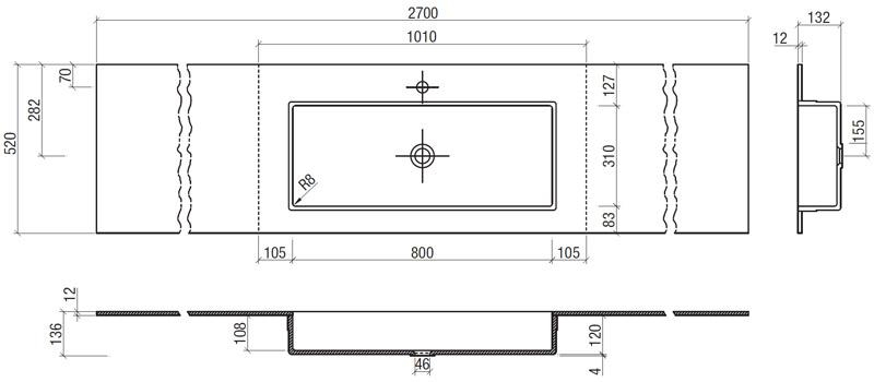 Bagno design rebecca arredo design online - Misure lavabo bagno ...