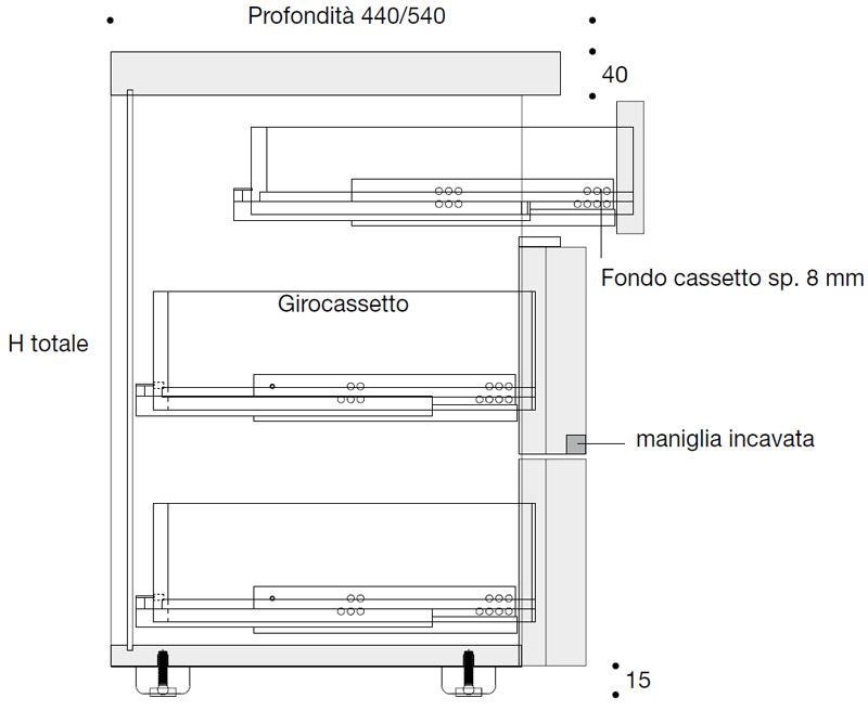 Settimino design 6 cassetti eggy arredo design online - Misure letto rotondo ...
